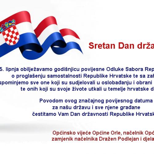 Sretan Dan državnosti Republike Hrvatske!